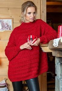 Красный свитер оверсайз Fobya F610