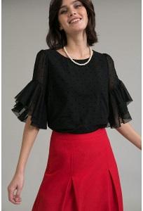 Черная блузка прямого кроя в мелкий горох Emka B2389/anri