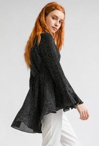 Черная блузка в горох с завышенной талией Emka B2392/loredana