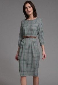 Серое приталенное платье в клетку Emka PL1025/recently