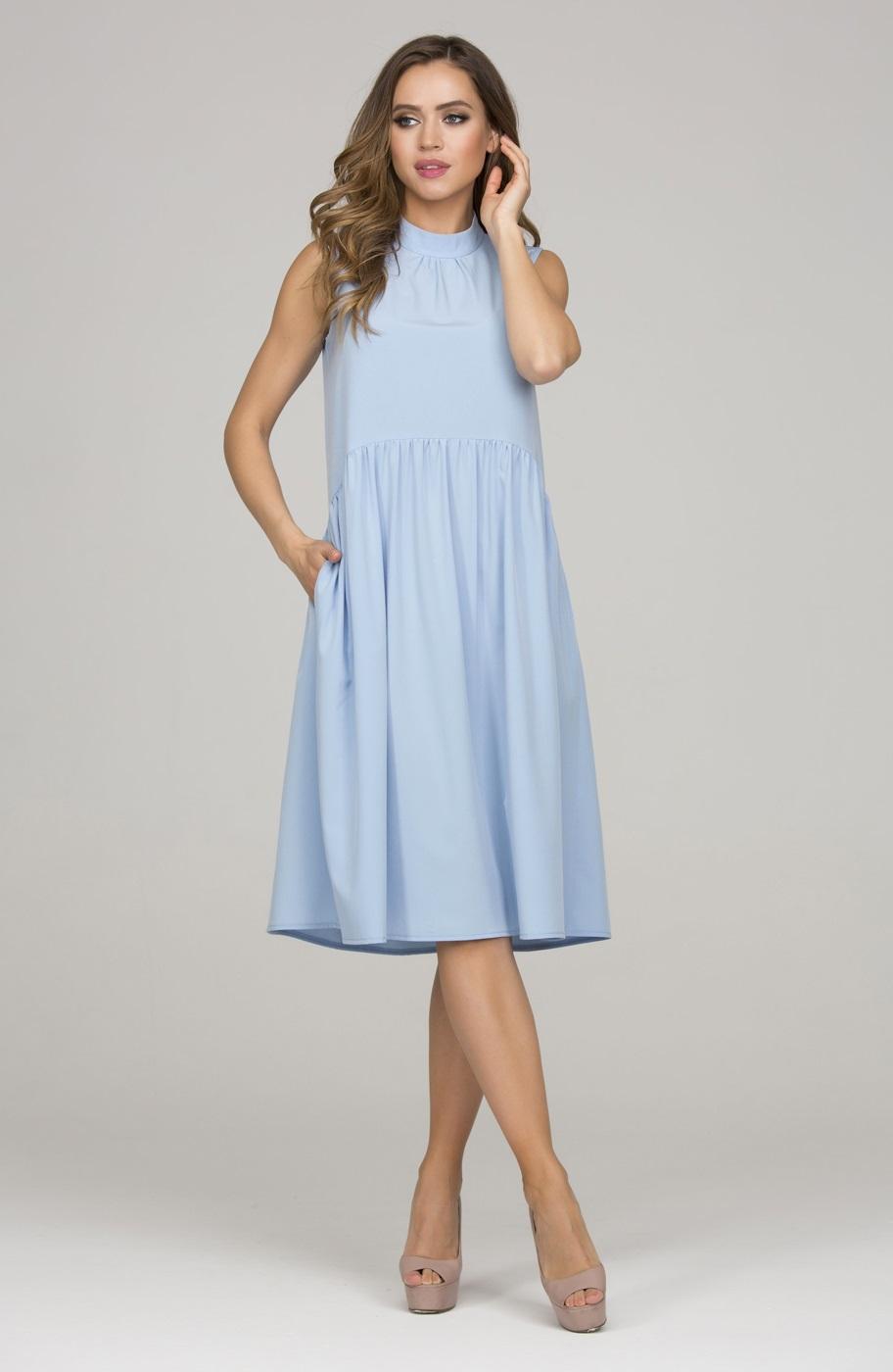ae4190034add2ba Голубое летнее платье без рукавов Donna Saggia DSP-327-81 купить в ...