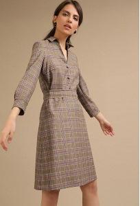 Коричневое платье в клетку Emka PL962/marcello