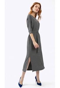 Серое платье-миди с меланжевым эффектом Emka PL821/difficult