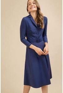 Платье синего цвета с рубашечным воротом Emka PL917/selvi