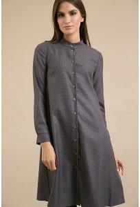 Серое платье-рубашка в мелкую клетку Emka PL945/oslo