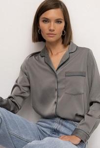 Атласная рубашка в пижамном стиле Emka B2329/still
