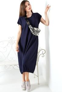 Платье-баллон из фактурной ткани TopDesign A20 088