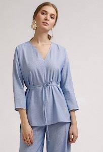 Синяя блузка в полоску с рукавом 3/4 Emka B2408/abeliya