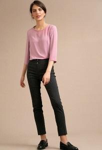 Серые женские брюки в белую полоску Emka D052/mitya