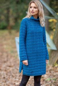 Синее платье-свитер Fobya F599