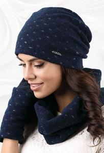 Комплект шапка и снуд  синего цвета Kamea Argenta
