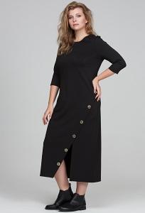 Длинное чёрное платье прямого кроя Donna Saggia DSPB-20-4t