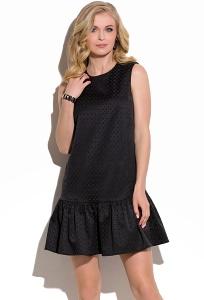 Чёрное платье с воланом по низу Donna Saggia DSP-06-6