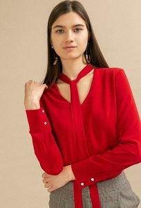 Красная блузка прямого кроя с бантом Emka B2419/sakita