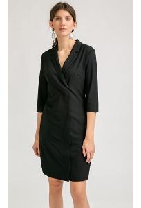 Короткое черное платье на молнии спереди Emka PL843/zofia