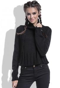 Укороченный женский свитер чёрного цвета Fobya F440