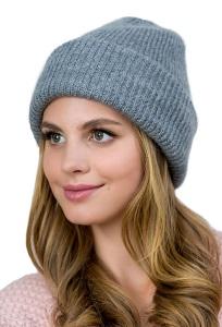Женская шапка из мохера тёмно-серго цвет Landre Амели
