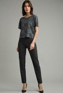 Серые зауженные брюки Emka D173/suvid