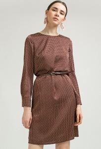Коричневое платье в горох Emka PL954/parsons