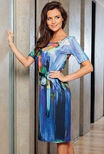 Летнее платье из трикотажа с коротким рукавом TopDesign A7 014