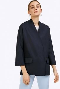 Тёмно-синее полупальто в стиле кимоно Emka R015/alcanzo