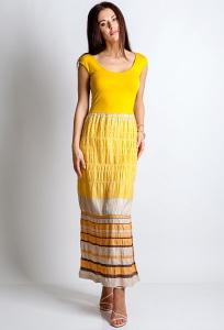 Длинное жёлтое платье TopDesign A4 160