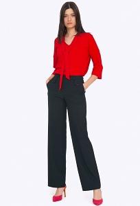 Женские широкие брюки тёмно-синего цвета Emka D056/malika