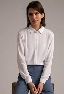Белоснежная классическая офисная блуза Emka B2260/lotos
