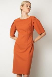 Терракотовое платье до колен Emka PL1069/kurt
