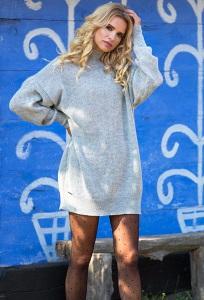 Серый тёплое платье oversize Fobya F577