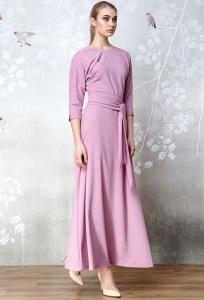 Длинное розовое трикотажное платье Flaibach 203W7