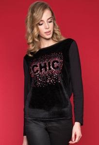 Черная велюровая блузка Zaps Shira
