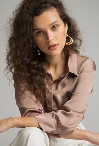 Однотонная коричневая блузка Emka B2480/lovita