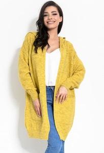 Жёлтый женский кардиган с капюшоном Fimfi I321