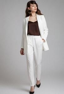 Белые брюки с защипами Emka D148/eternity