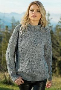 Теплый свитер серого цвета Fobya F605