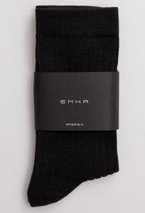 Однотонные чёрные носки в рубчик Emka V003/masum