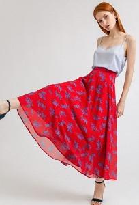 Длинная шифоновая юбка-полусолнце Emka S711/prada