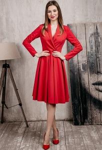 Красное платье из костюмной ткани Donna Saggia DSP-362-56