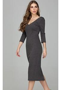Облегающее трикотажное платье с V-вырезом Donna Saggia DSP-296-72t