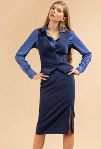 Синяя юбка карандаш с декоративным разрезом Emka S854/selvi
