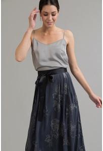 Серая юбка миди с цветочным принтом Emka S522/kaboom