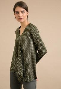 Женская блуза цвета хаки в горох Emka B2351/saratoga