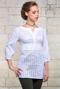 Белая удлиненная блузка Issi 171125