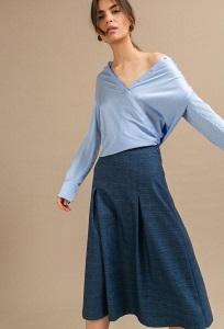 Синяя юбка в клетку миди Emka S870/ultra
