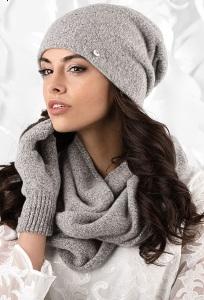 Комплект (шапка, снуд, перчатки) серого цвета Kamea Novara