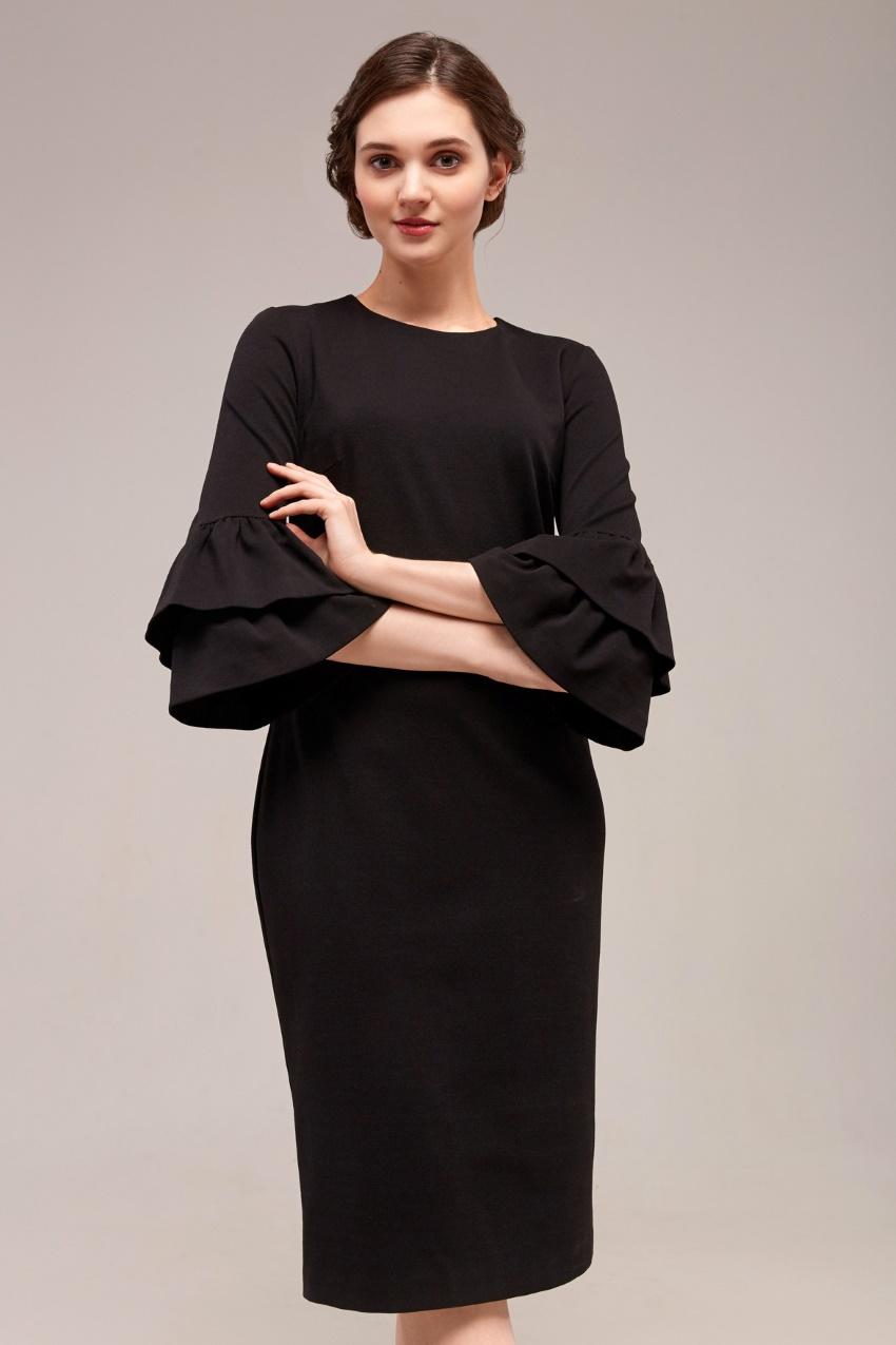 b8d8f244931 Чёрное платье с воланами на рукавах TopDesign B7 048. Увеличить