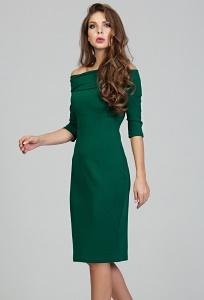 Тёмно-зелёное платье-футляр Donna Saggia DSP-309-44t