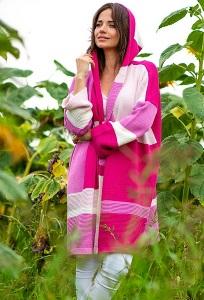 Длинный розовый кардиган Fobya F515