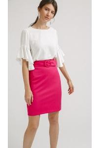 Яркая юбка розового цвета Emka S799/mondrian